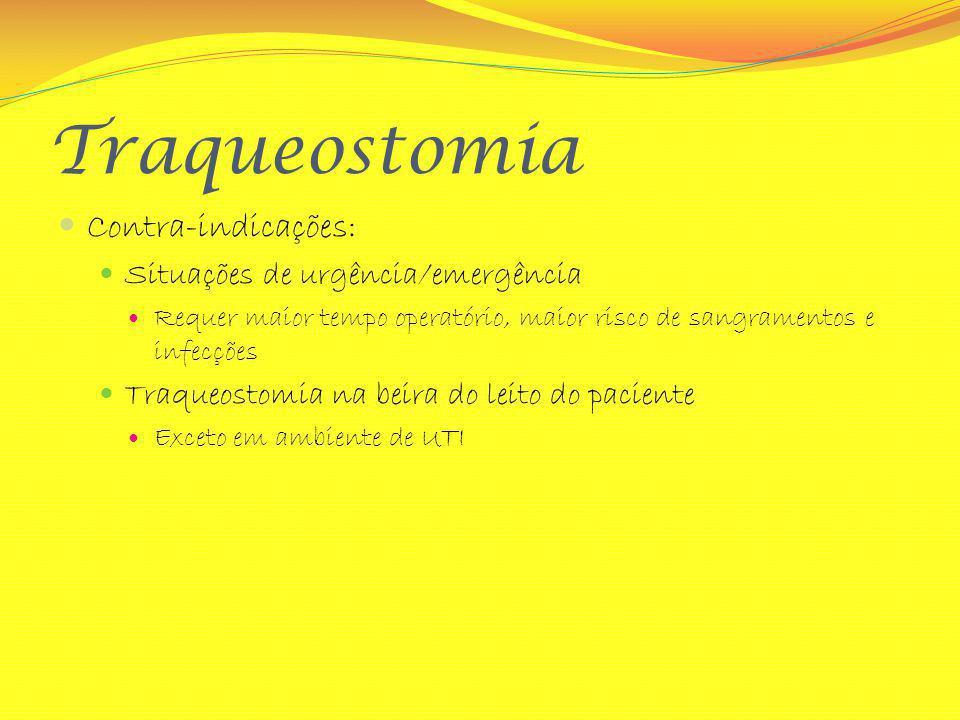 Traqueostomia Contra-indicações: Situações de urgência/emergência