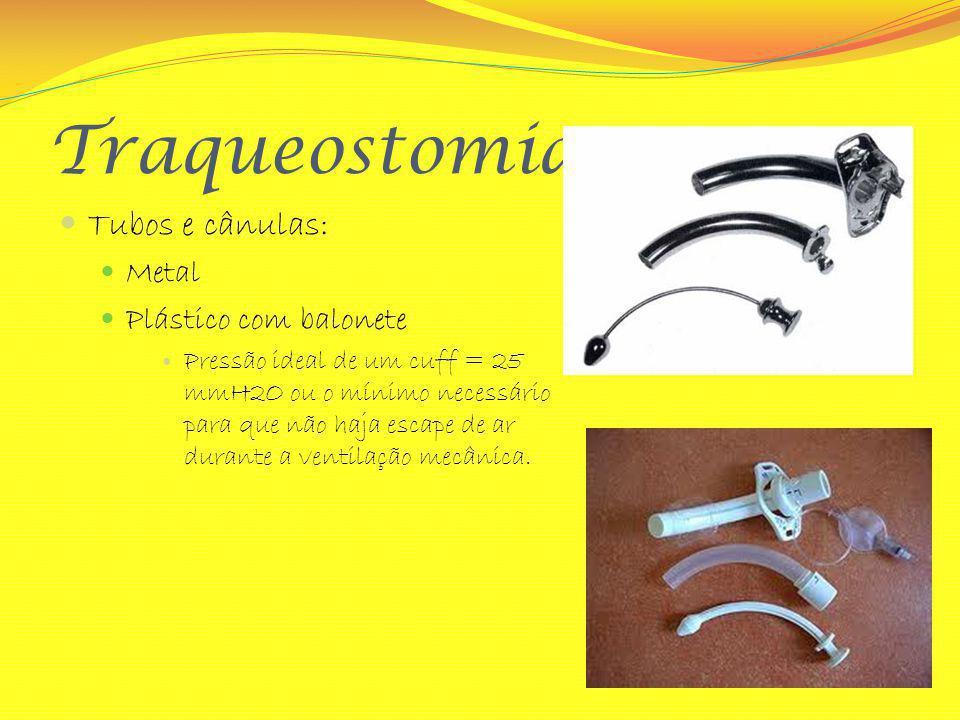 Traqueostomia Tubos e cânulas: Metal Plástico com balonete