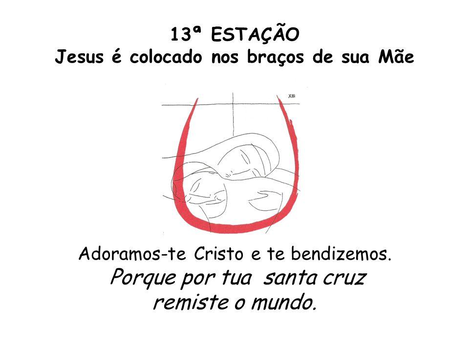 13ª ESTAÇÃO Jesus é colocado nos braços de sua Mãe Adoramos-te Cristo e te bendizemos.