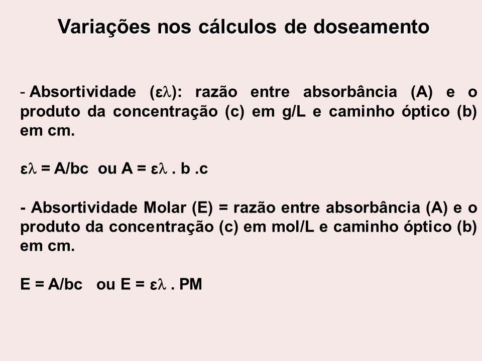 Variações nos cálculos de doseamento