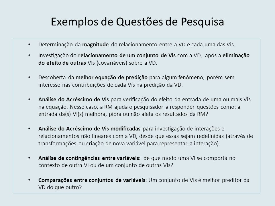 Exemplos de Questões de Pesquisa