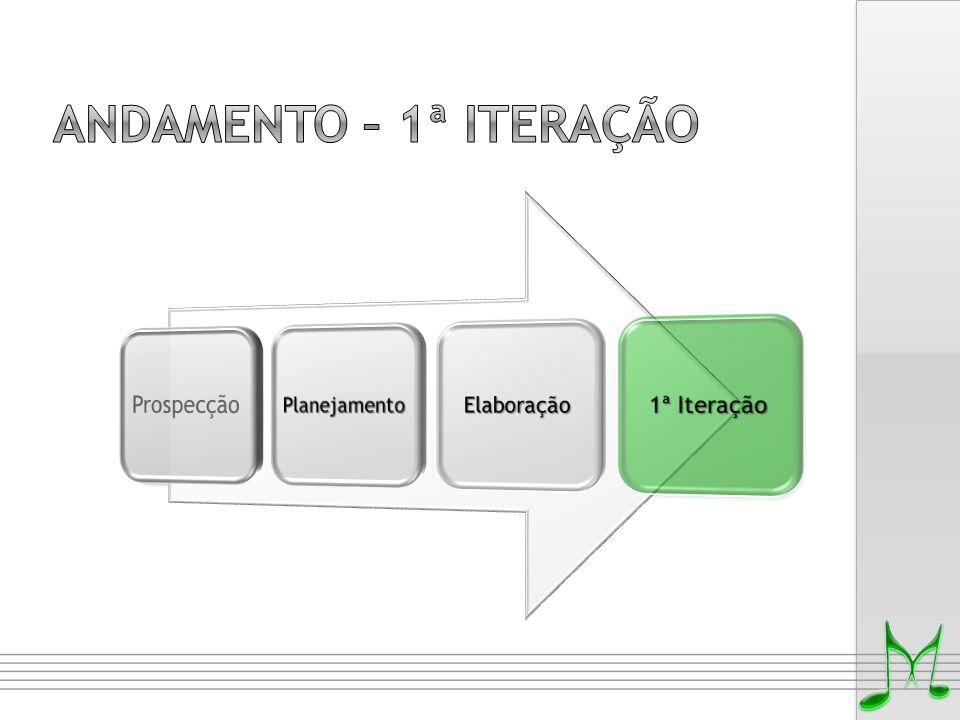 Andamento – 1ª iteração Prospecção Planejamento Elaboração 1ª Iteração