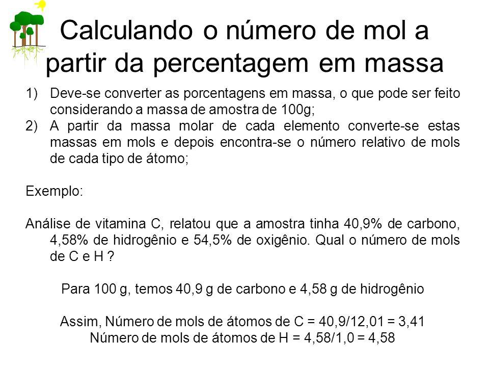 Calculando o número de mol a partir da percentagem em massa
