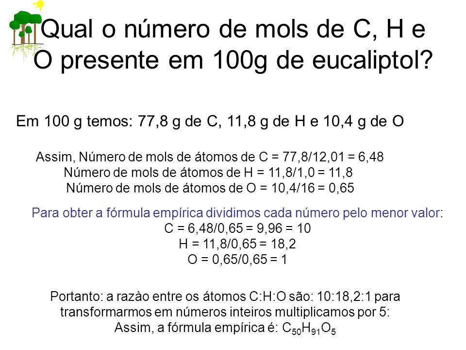 Qual o número de mols de C, H e O presente em 100g de eucaliptol