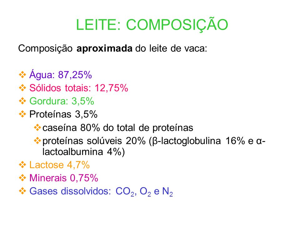 LEITE: COMPOSIÇÃO Composição aproximada do leite de vaca: Água: 87,25%