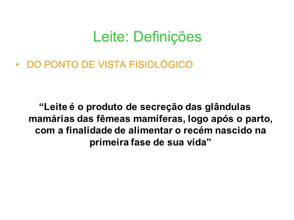 Leite: Definições DO PONTO DE VISTA FISIOLÓGICO