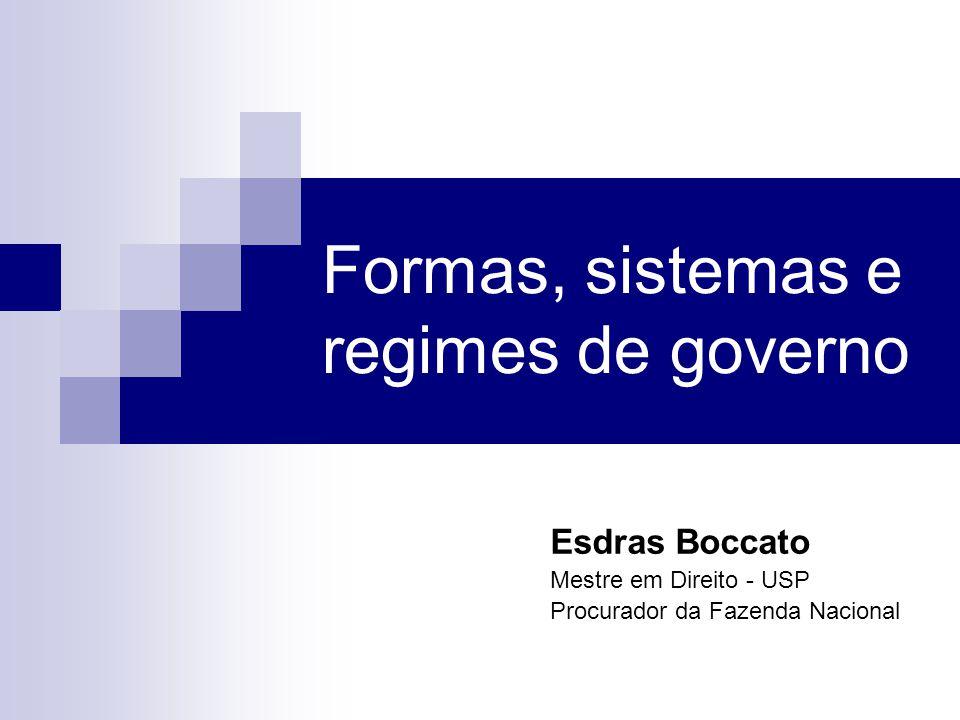 Formas, sistemas e regimes de governo