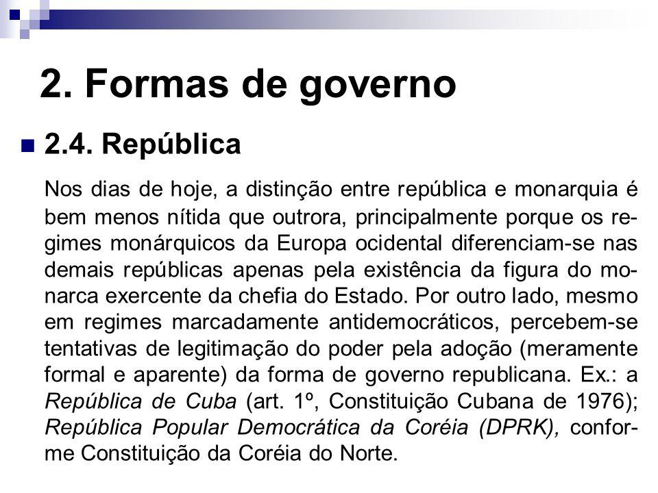 2. Formas de governo 2.4. República
