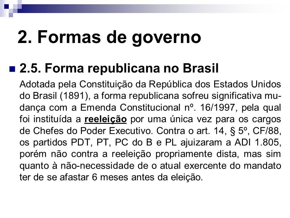 2. Formas de governo 2.5. Forma republicana no Brasil