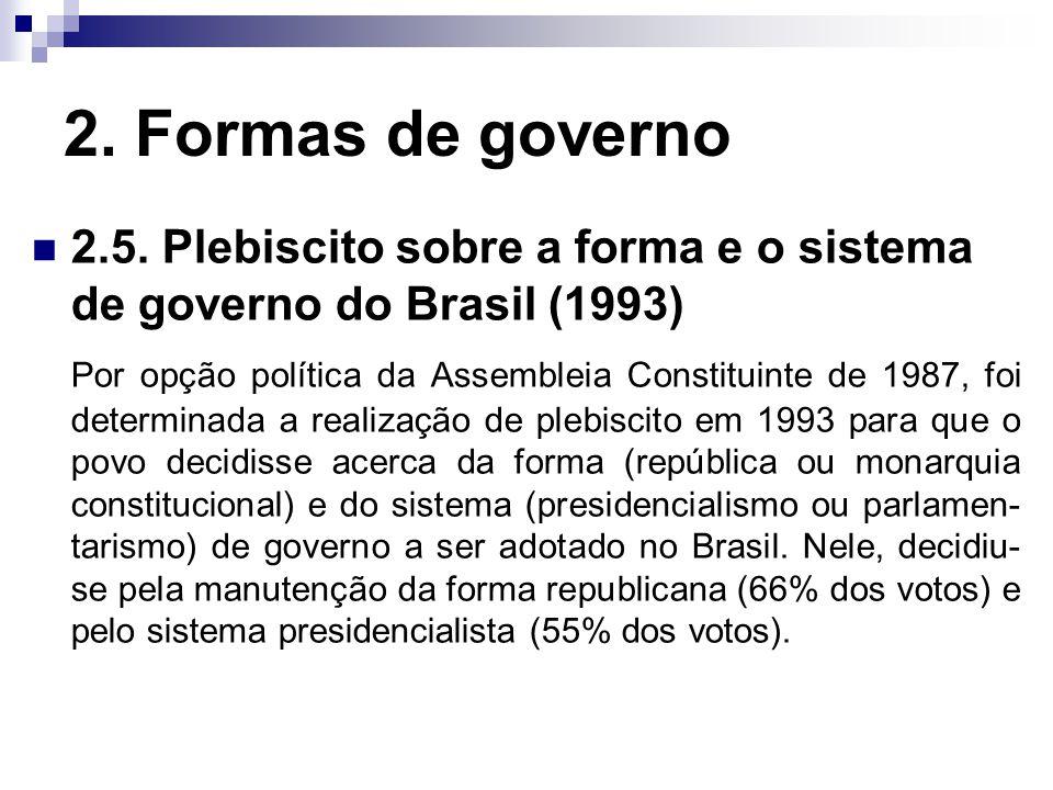 2. Formas de governo 2.5. Plebiscito sobre a forma e o sistema de governo do Brasil (1993)
