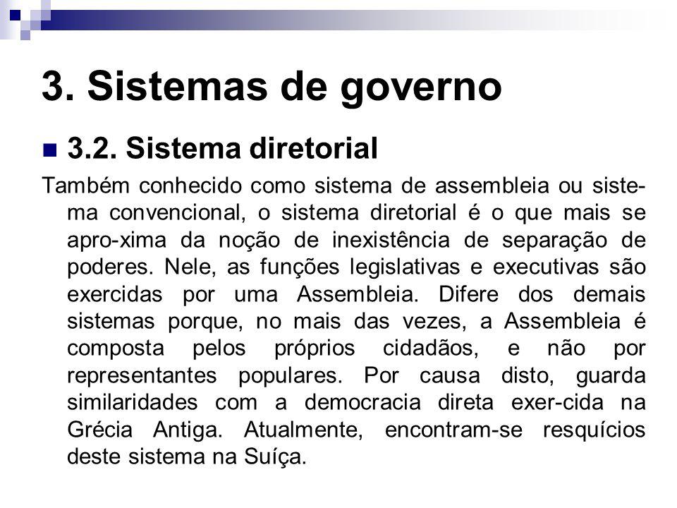 3. Sistemas de governo 3.2. Sistema diretorial