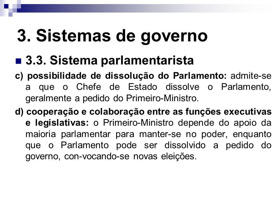 3. Sistemas de governo 3.3. Sistema parlamentarista