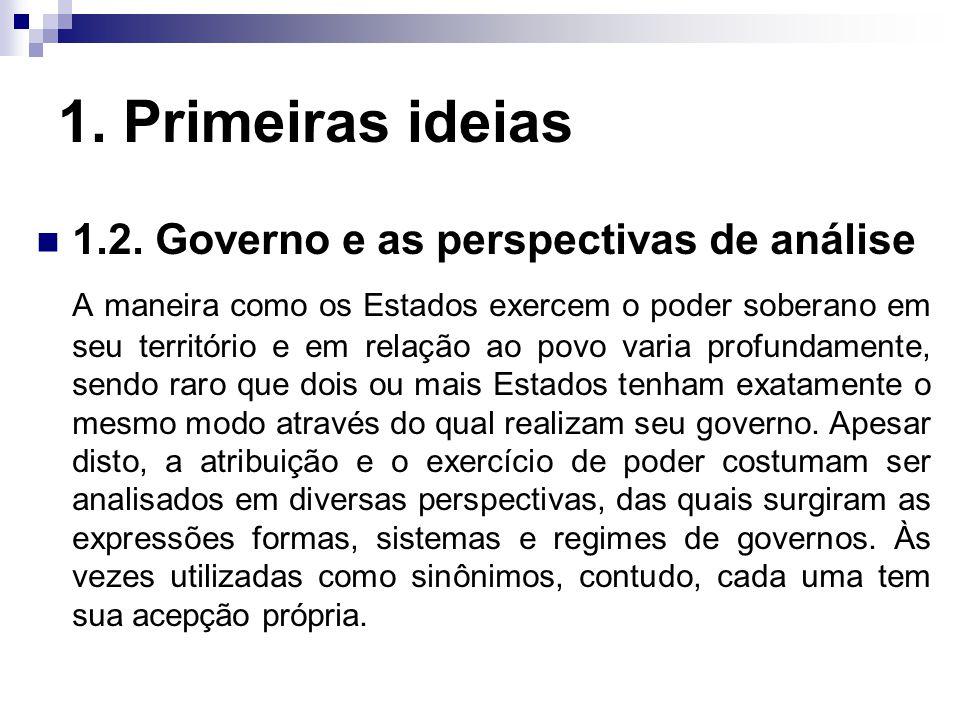 1. Primeiras ideias 1.2. Governo e as perspectivas de análise