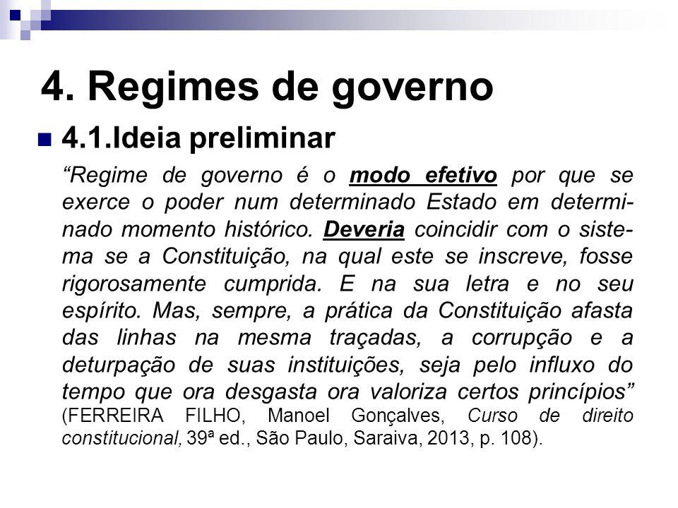 4. Regimes de governo 4.1.Ideia preliminar