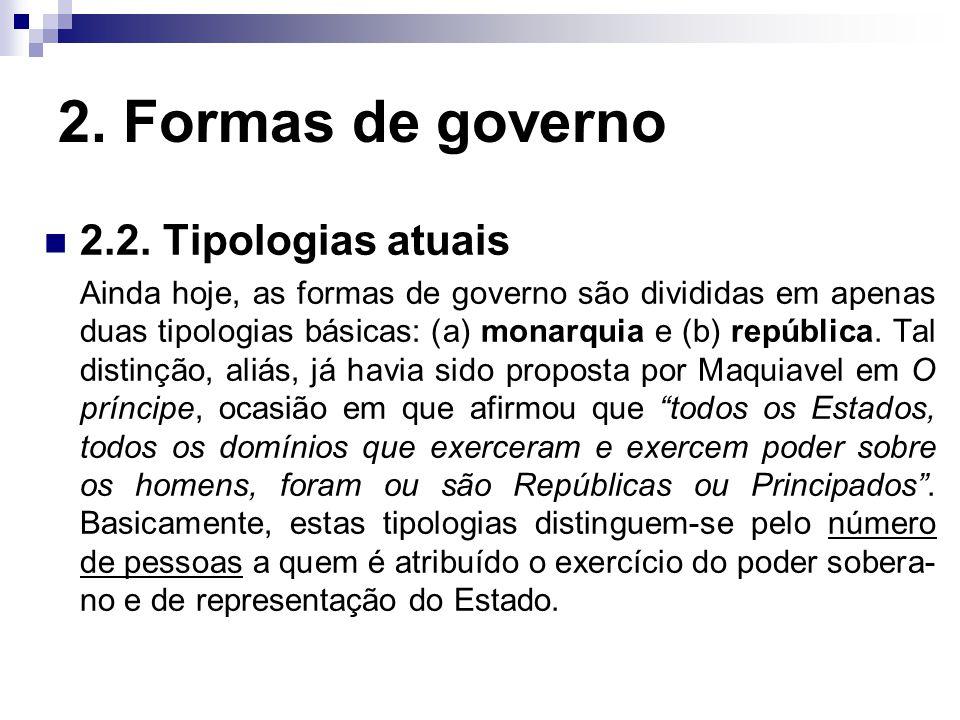 2. Formas de governo 2.2. Tipologias atuais