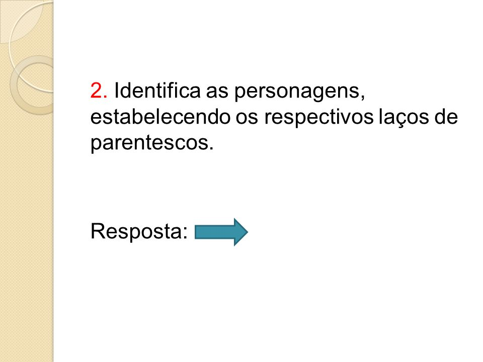 2. Identifica as personagens, estabelecendo os respectivos laços de parentescos. Resposta: