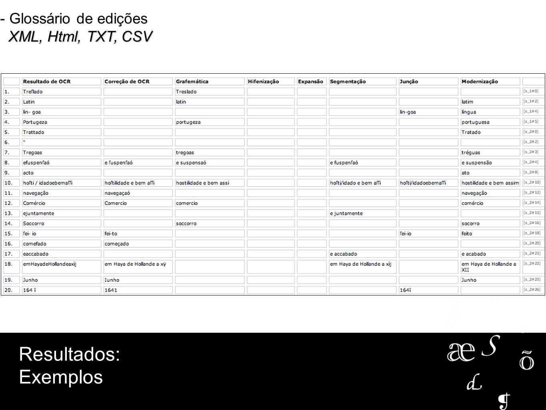 - Glossário de edições XML, Html, TXT, CSV