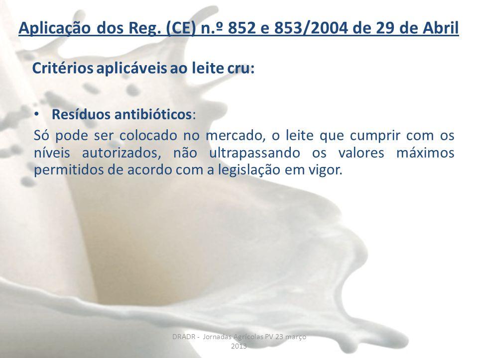 Aplicação dos Reg. (CE) n.º 852 e 853/2004 de 29 de Abril