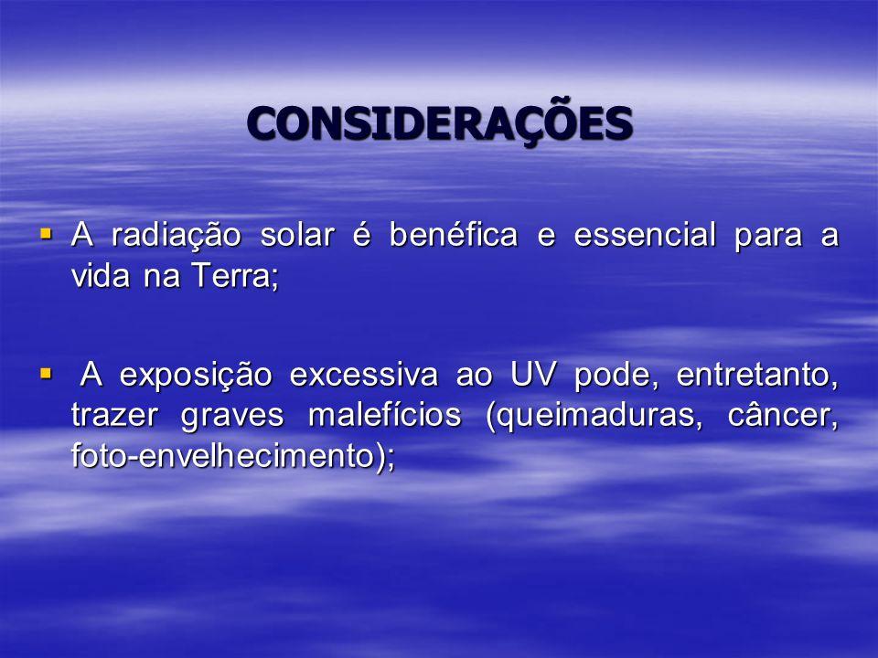 05/04/2017 CONSIDERAÇÕES. A radiação solar é benéfica e essencial para a vida na Terra;
