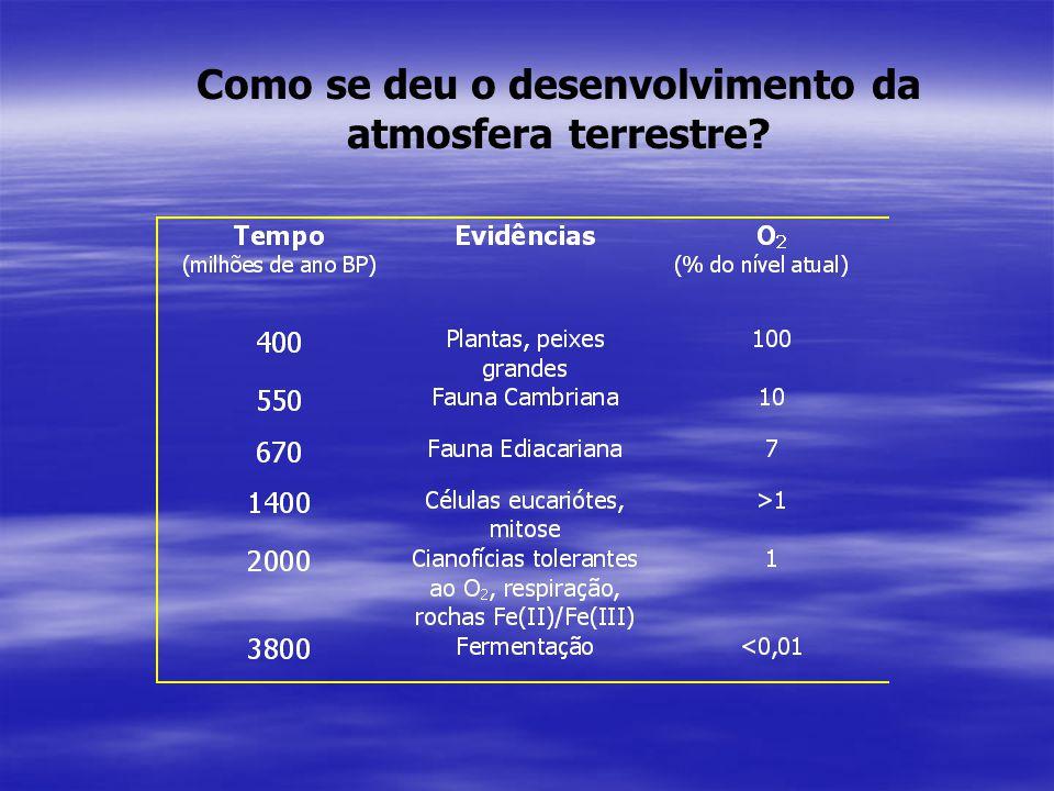 Como se deu o desenvolvimento da atmosfera terrestre