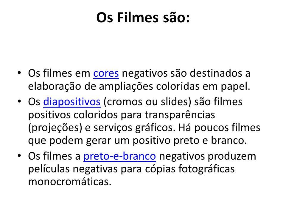 Os Filmes são: Os filmes em cores negativos são destinados a elaboração de ampliações coloridas em papel.
