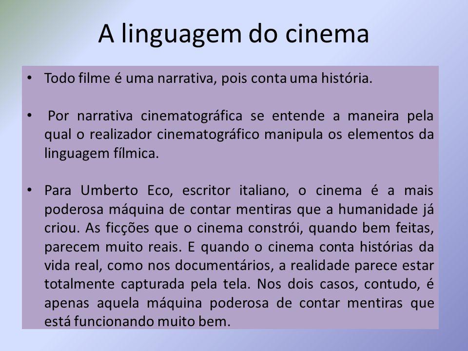 A linguagem do cinema Todo filme é uma narrativa, pois conta uma história.