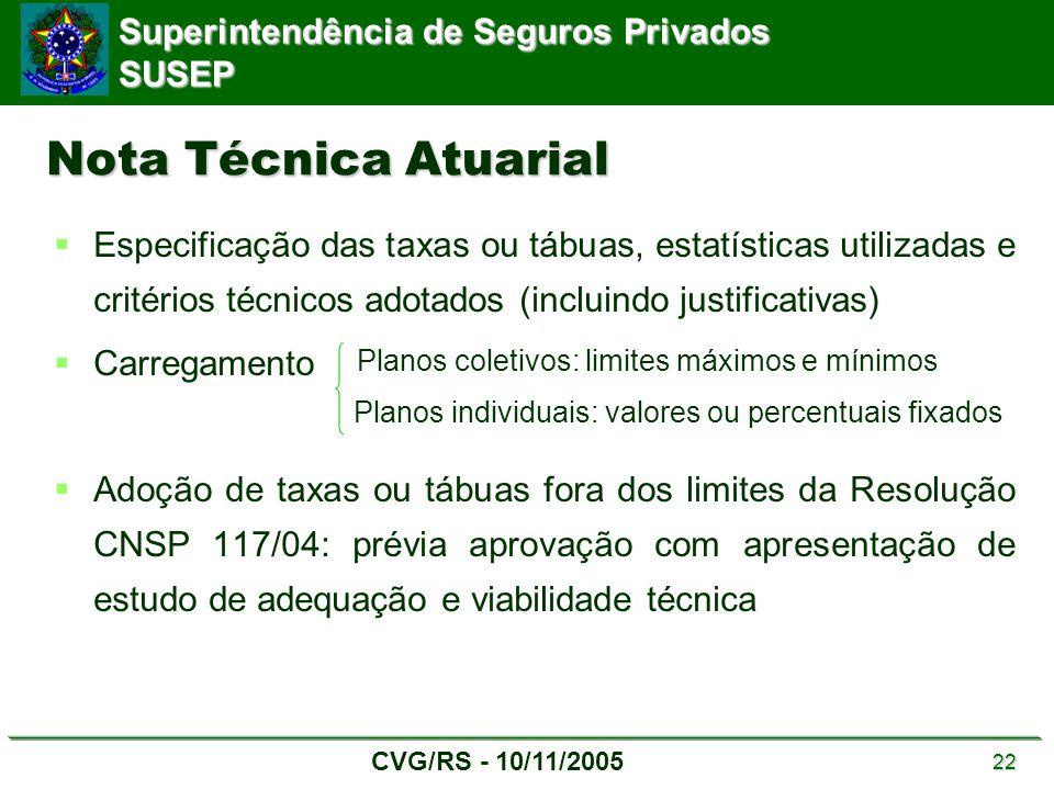 Nota Técnica Atuarial Especificação das taxas ou tábuas, estatísticas utilizadas e critérios técnicos adotados (incluindo justificativas)