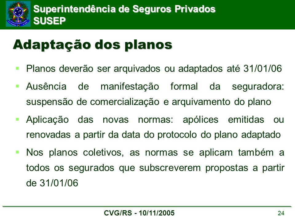 Adaptação dos planos Planos deverão ser arquivados ou adaptados até 31/01/06.