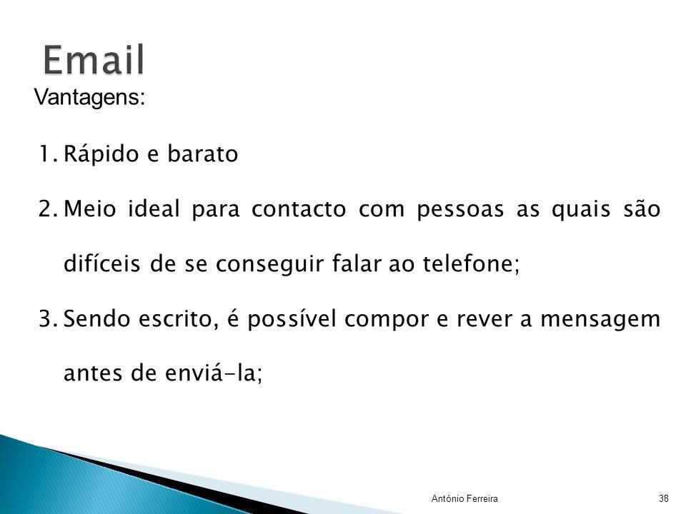 Email Vantagens: Rápido e barato