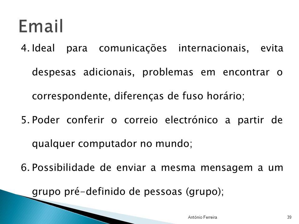 Email Ideal para comunicações internacionais, evita despesas adicionais, problemas em encontrar o correspondente, diferenças de fuso horário;