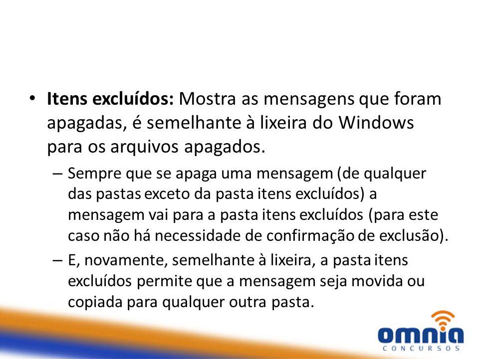 Itens excluídos: Mostra as mensagens que foram apagadas, é semelhante à lixeira do Windows para os arquivos apagados.