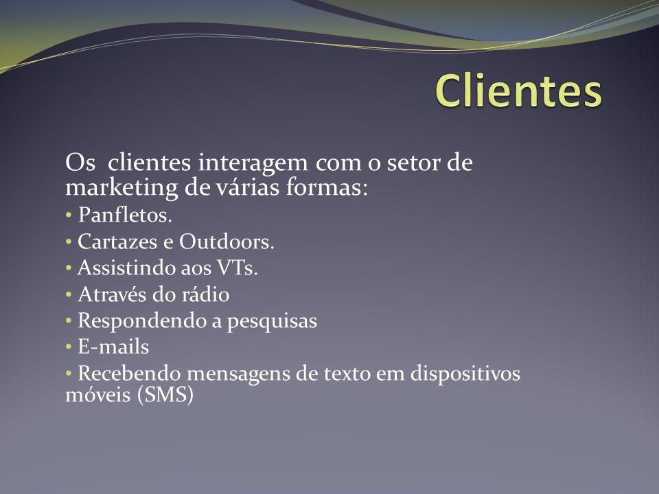 Clientes Os clientes interagem com o setor de marketing de várias formas: Panfletos. Cartazes e Outdoors.