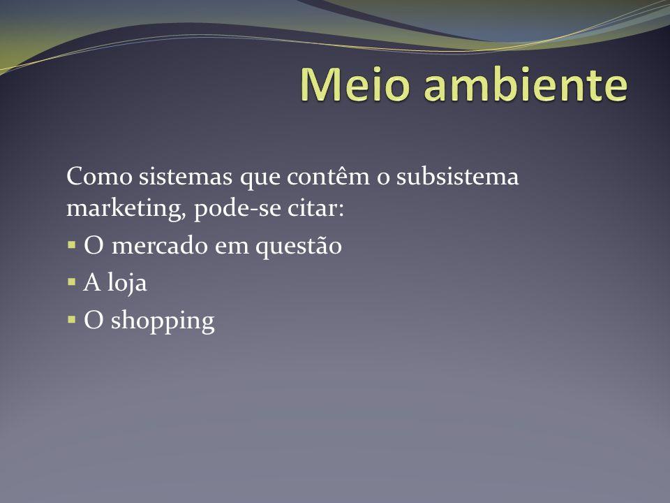 Meio ambiente Como sistemas que contêm o subsistema marketing, pode-se citar: O mercado em questão.