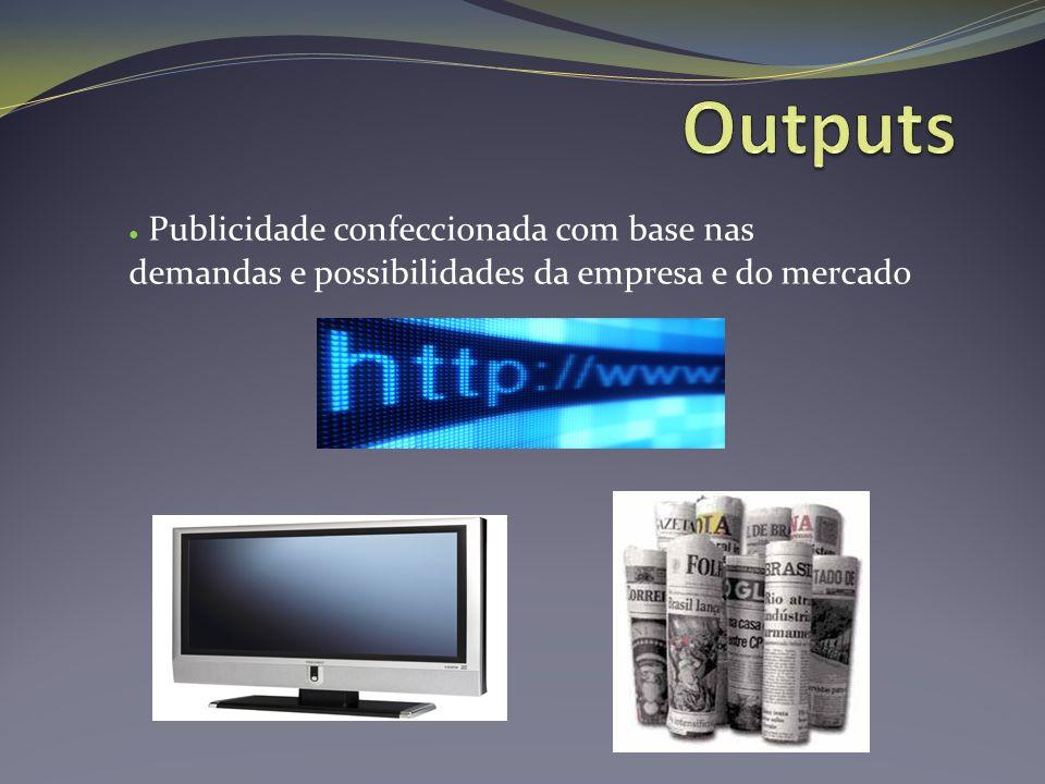 Outputs Publicidade confeccionada com base nas demandas e possibilidades da empresa e do mercado