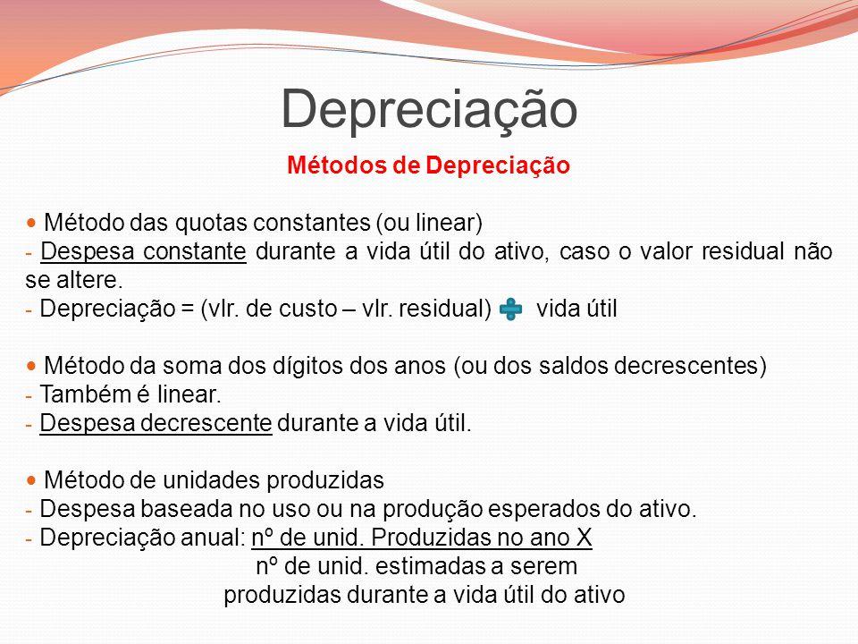 Métodos de Depreciação