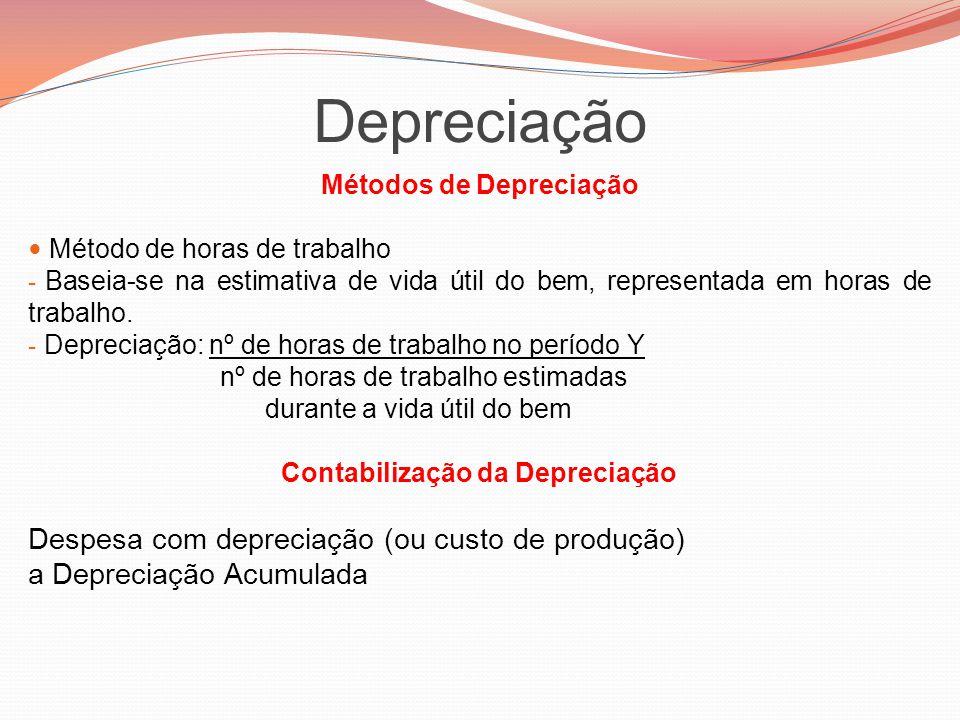 Métodos de Depreciação Contabilização da Depreciação