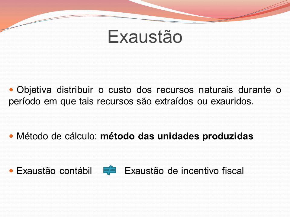 Exaustão Objetiva distribuir o custo dos recursos naturais durante o período em que tais recursos são extraídos ou exauridos.