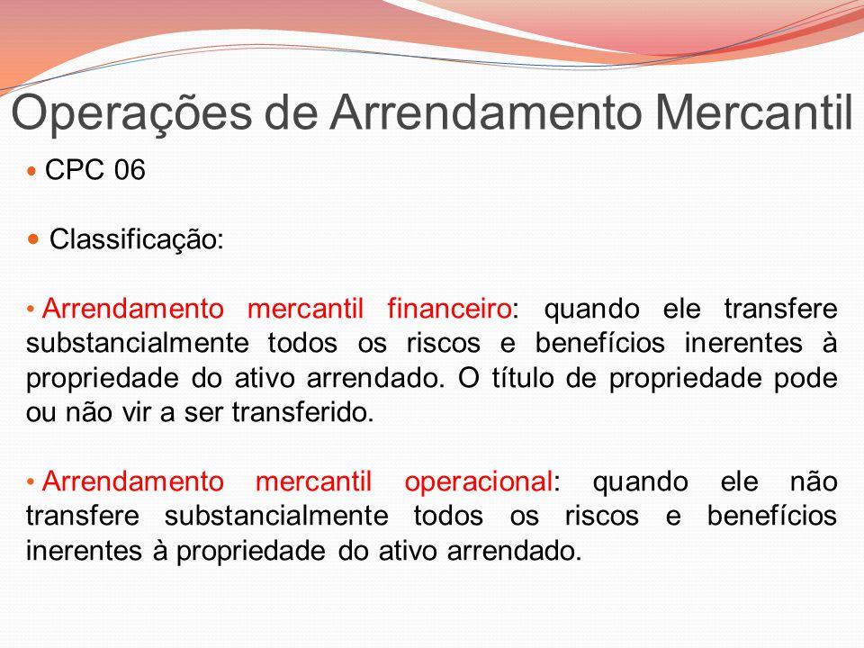 Operações de Arrendamento Mercantil