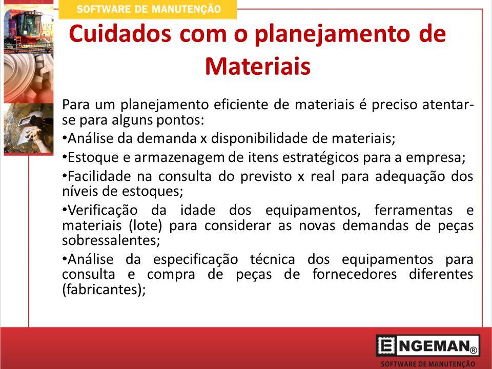 Cuidados com o planejamento de Materiais