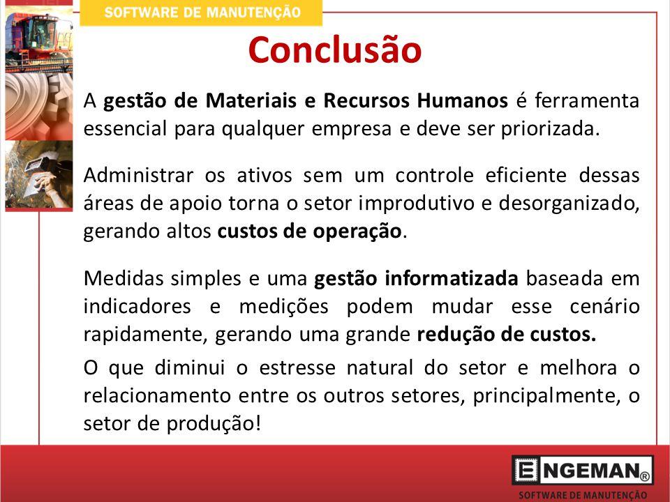 Conclusão A gestão de Materiais e Recursos Humanos é ferramenta essencial para qualquer empresa e deve ser priorizada.