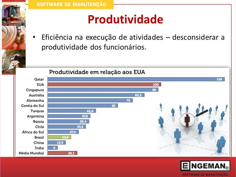 Produtividade Eficiência na execução de atividades – desconsiderar a produtividade dos funcionários.
