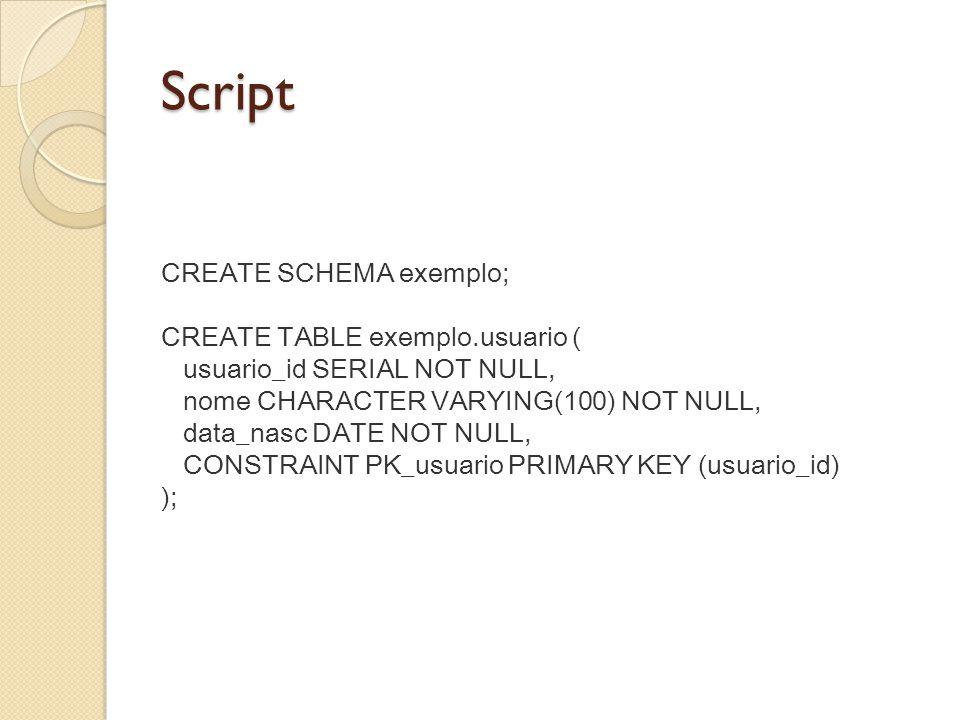 Script CREATE SCHEMA exemplo;