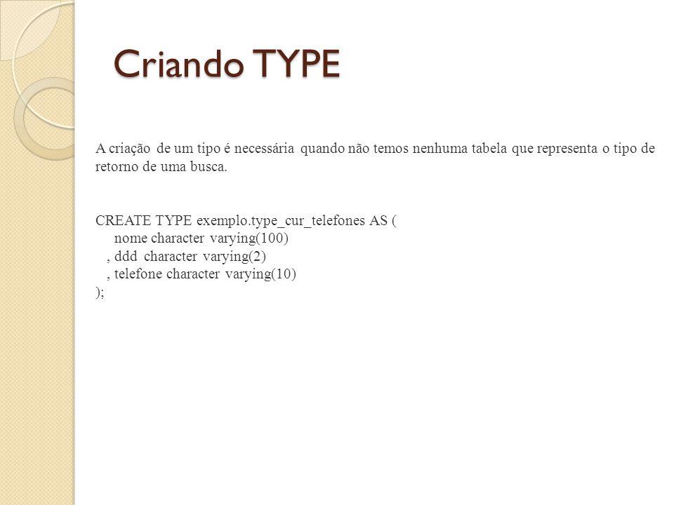 Criando TYPE A criação de um tipo é necessária quando não temos nenhuma tabela que representa o tipo de retorno de uma busca.