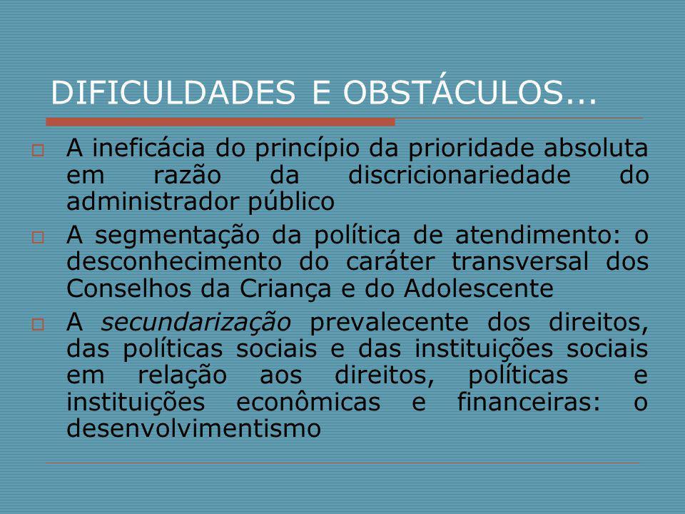 DIFICULDADES E OBSTÁCULOS...