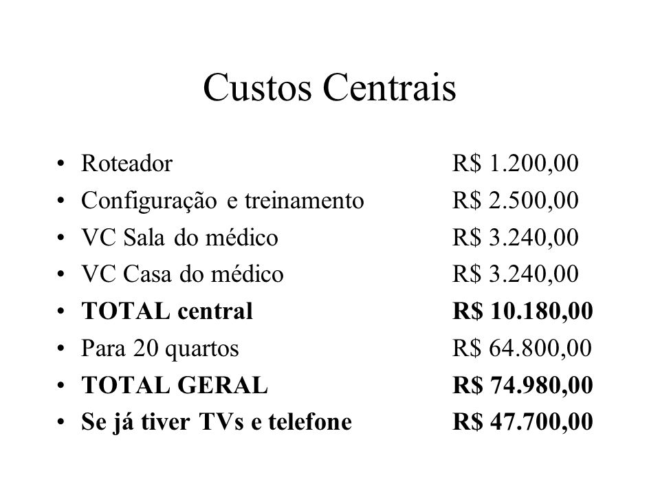 Custos Centrais Roteador R$ 1.200,00
