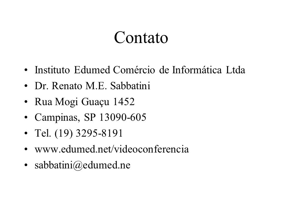Contato Instituto Edumed Comércio de Informática Ltda