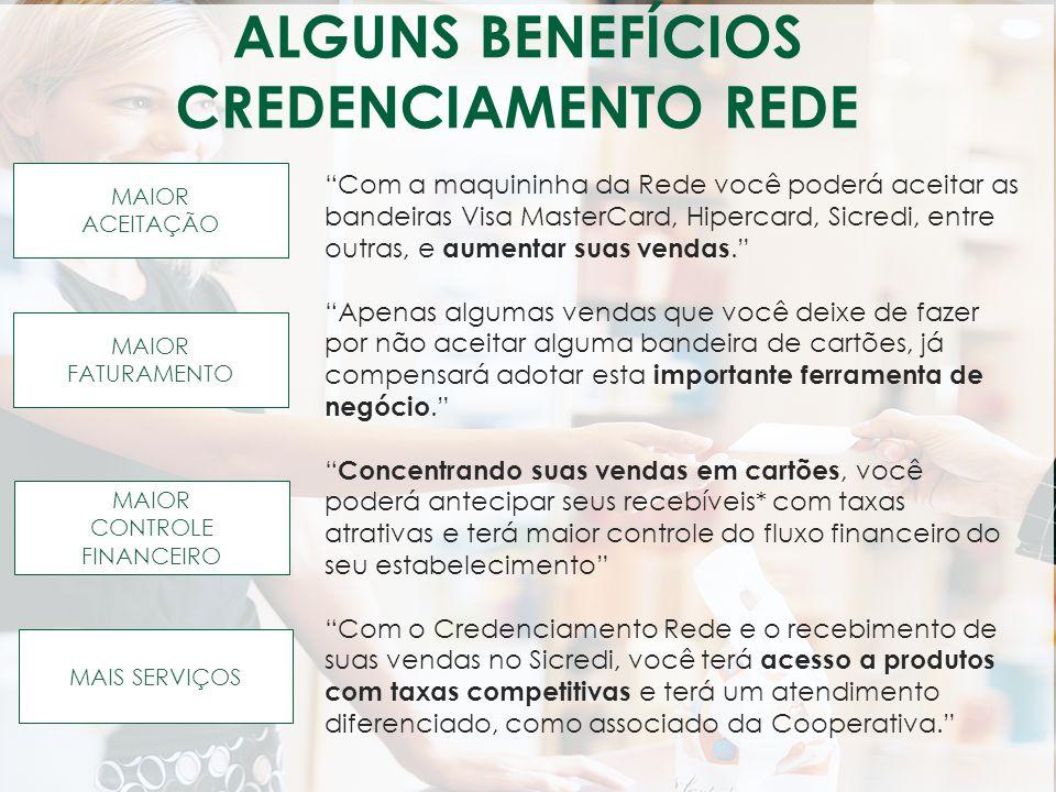 ALGUNS BENEFÍCIOS CREDENCIAMENTO REDE