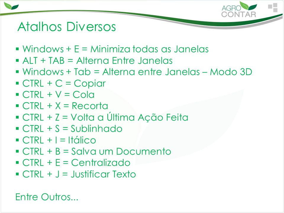 Atalhos Diversos Windows + E = Minimiza todas as Janelas
