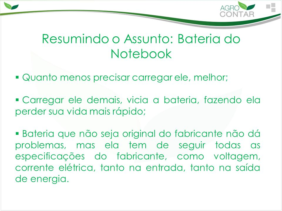 Resumindo o Assunto: Bateria do Notebook