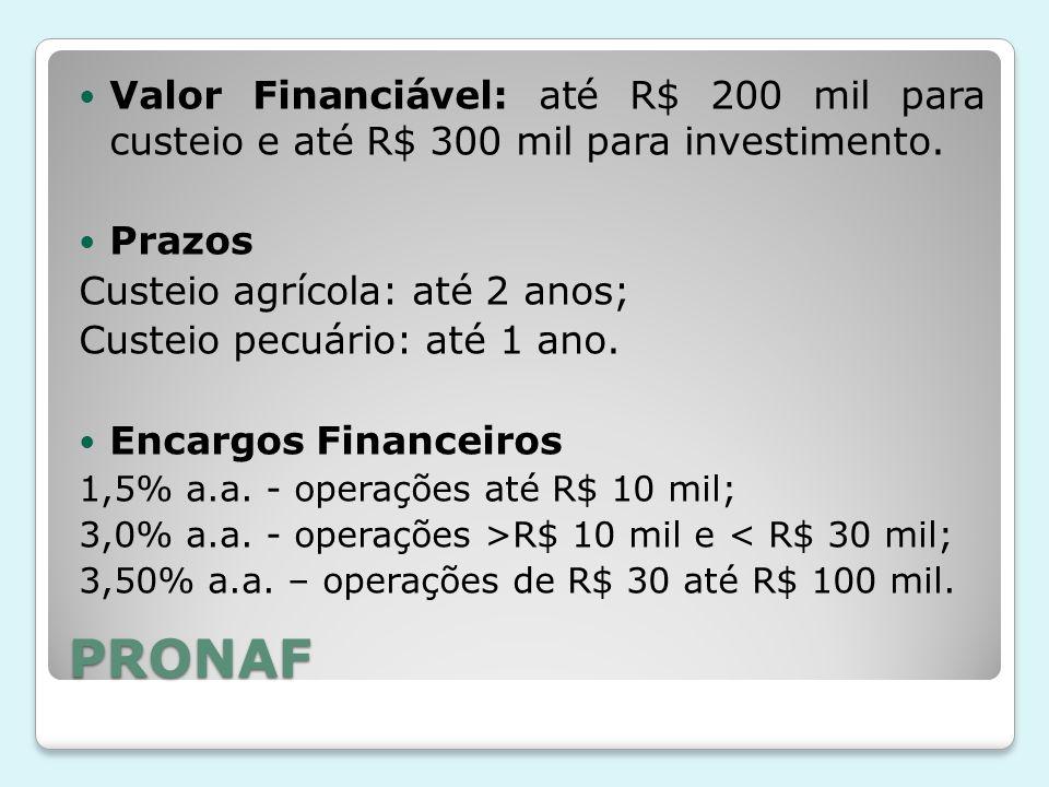 Valor Financiável: até R$ 200 mil para custeio e até R$ 300 mil para investimento.